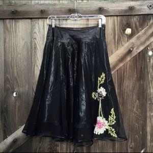 Betsey Johnson black flared embroidered skirt 2